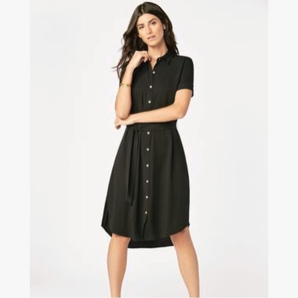 18f78134b0 JustFab Dresses | Black Midi Button Down Shirtdress | Poshmark